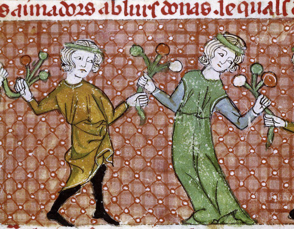 The Temptation: A Dancing Couple  C. 13th Cent Master Ermengaut(-1322 French) Vellum Biblioteca Monasterio del Escorial, Madrid, Spain  : Stock Photo