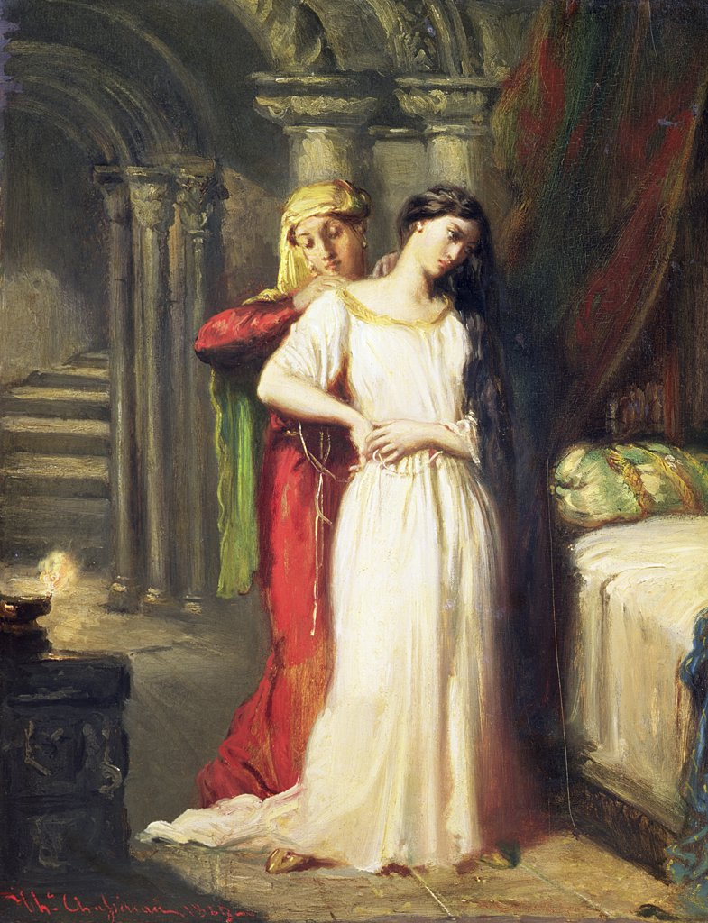 Stock Photo: 475-2452 Desdemona Retiring To Her Bed  1849 Chasseriau, Theodore(1819-1856 French) Oil On Panel Musee du Louvre, Paris, France