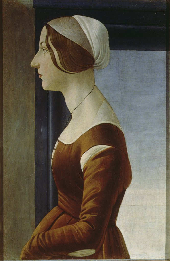 Stock Photo: 475-2470 Portrait of a Woman (The Beautiful Simonetta) Sandro Botticelli (1444-1510 Italian) Palatine Gallery, Palazzo Pitti, Florence, Italy
