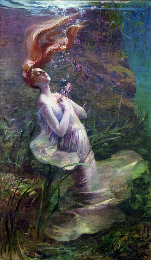 Ophelia Drowning  1895 Steck, Paul Albert(-1924 French) Oil On Canvas Musee de la Ville de Paris, France  : Stock Photo