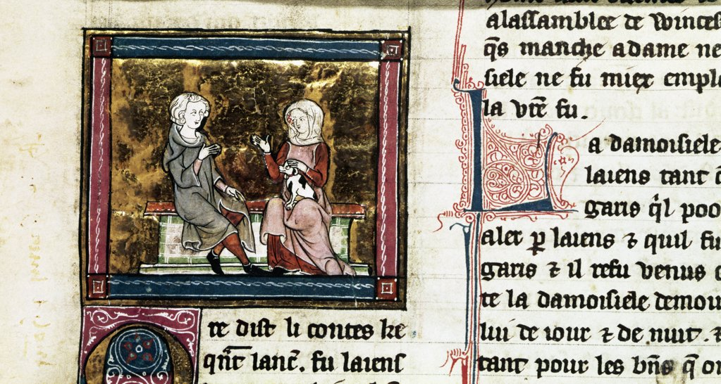 Stock Photo: 475-2557 Lancelot And Guinevere Sit And Talk