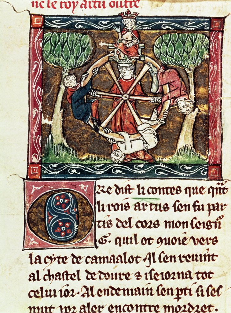 Stock Photo: 475-2559 Blind Goddess Fortune With King Arthur Enthroned