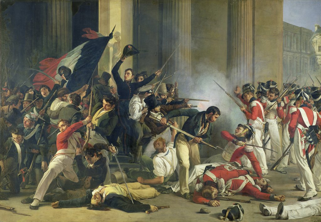 Stock Photo: 475-2601 Scene of the 1830 Revolution at the Louvre, Jean-Louis Bezard, (1799-1861/French), Oil on canvas, Musee de la Ville de Paris, France
