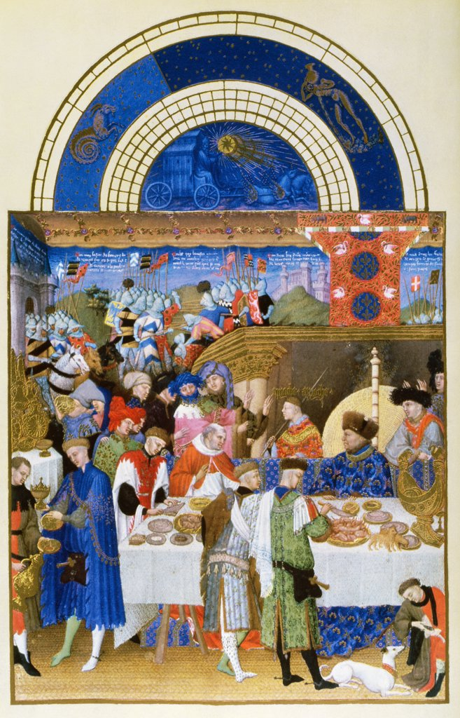 Stock Photo: 475-315 Les Tres Riche Heures du Duc de Berry: January -Banquet Scene 1413-1416 Limbourg Brothers(fl.1400-1416 Netherlandish) Facsimile manuscript Victoria & Albert Museum, London, England