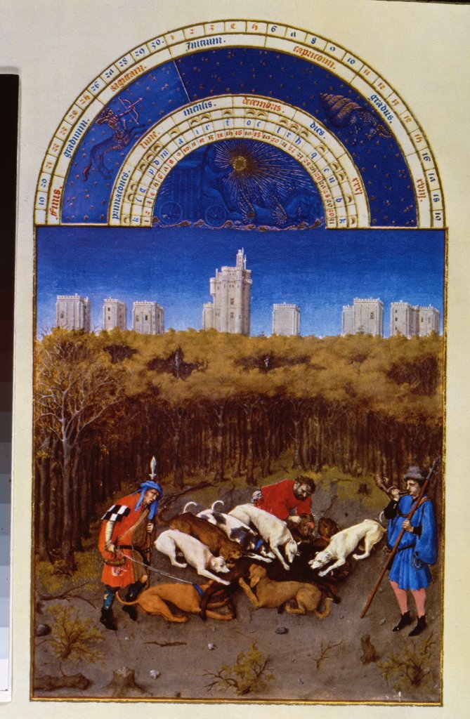 Stock Photo: 475-326 Les Tres Riche Heures du Duc de Berry: December - Hunting Wild Boar 1413-16 Limbourg Brothers(fl.1400-1416 Netherlandish) Facsimile Manuscript Victoria & Albert Museum, London, England
