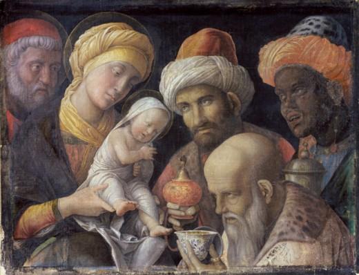 Adoration of the Magi 1495-1500 Andrea Mantegna (1431-1506 Italian) Distemper on linen J. Paul Getty Museum, California, USA : Stock Photo