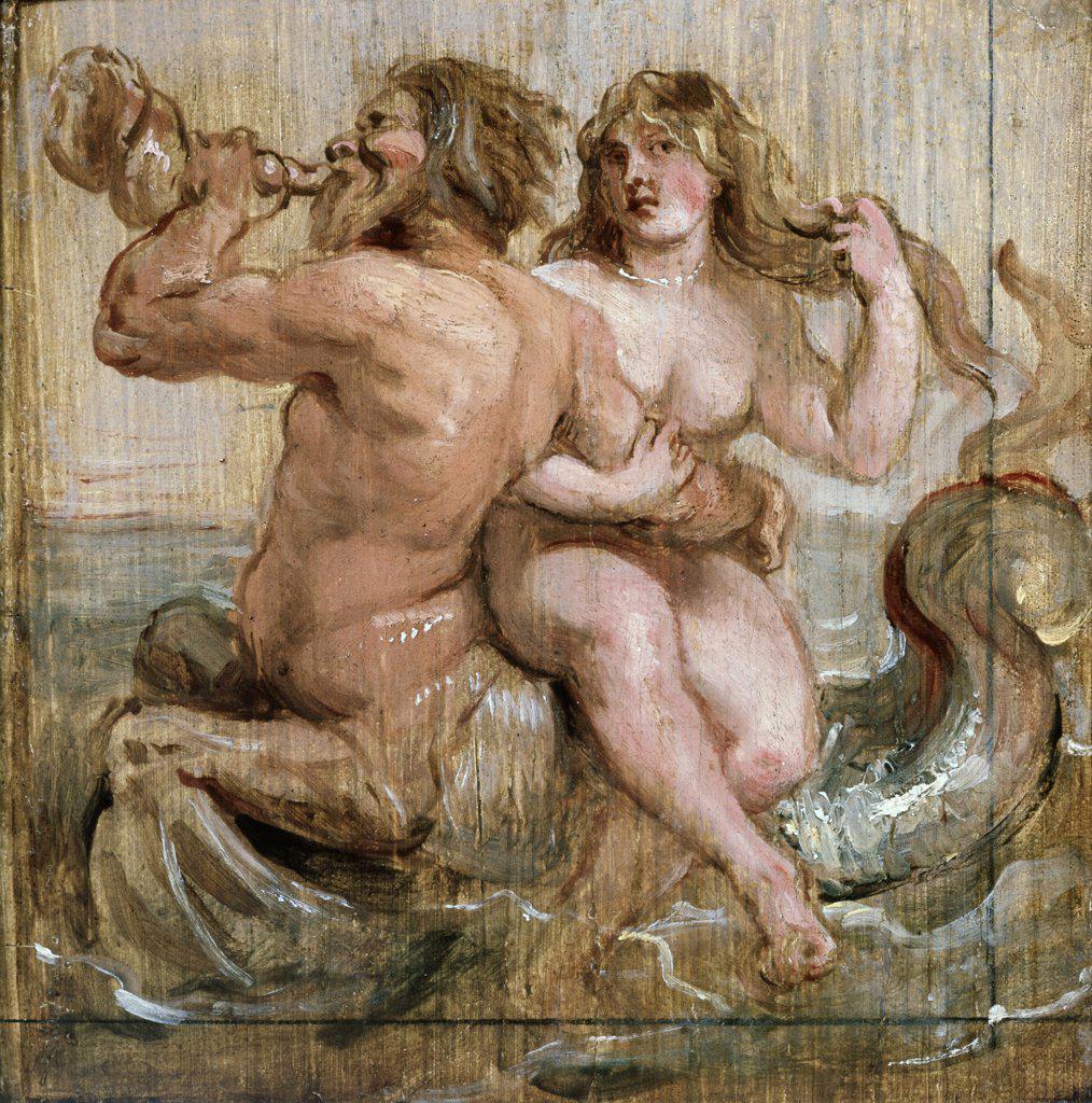 Stock Photo: 475-459 Nereid & Triton Peter Paul Rubens (1577-1640/Flemish) Museum Boijmans Van Beuningen, Rotterdam, Netherlands