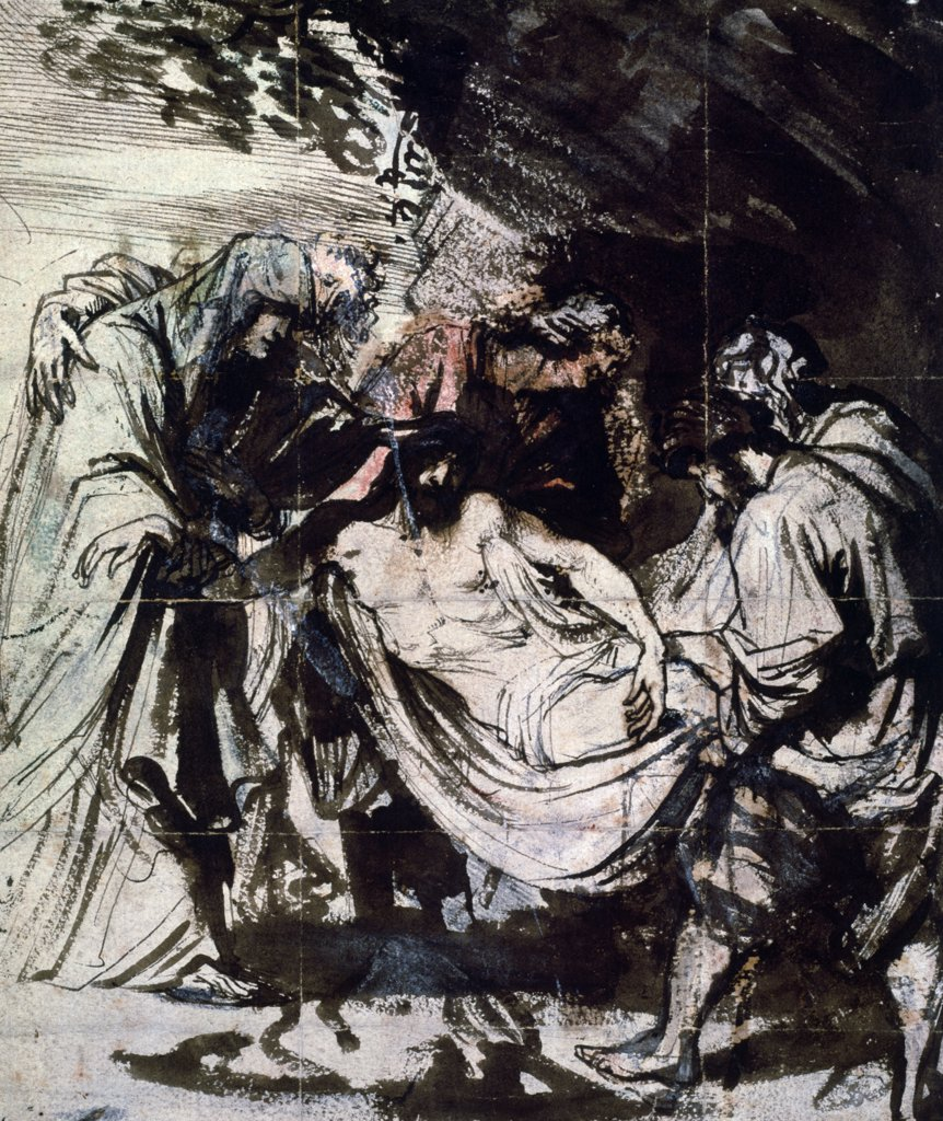 The Entombment: Study Anthony van Dyck  (1599-1641/Flemish) Chalk and ink Christie's Images, London  : Stock Photo
