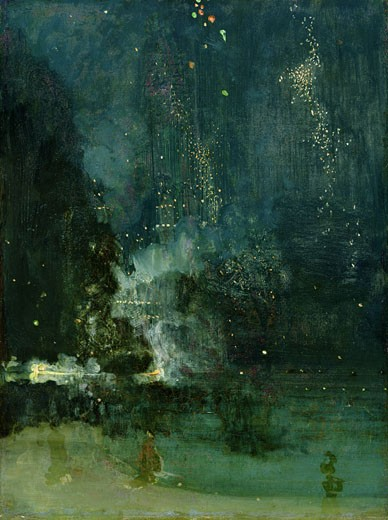 Nocturne in Black & Gold: the Falling Rocket ca. 1875 James Abbott McNeill Whistler (1834-1903 American) Oil on panel Detroit Institute of Arts, Michigan, USA : Stock Photo