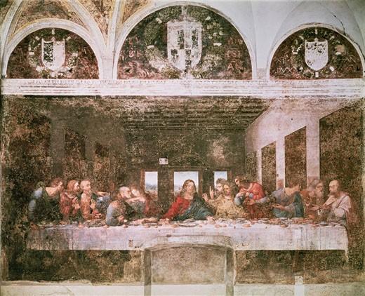 The Last Supper  C.1495-98 Leonardo da Vinci (1452-1519 Italian) Fresco Santa Maria delle Grazie, Milan, Italy : Stock Photo