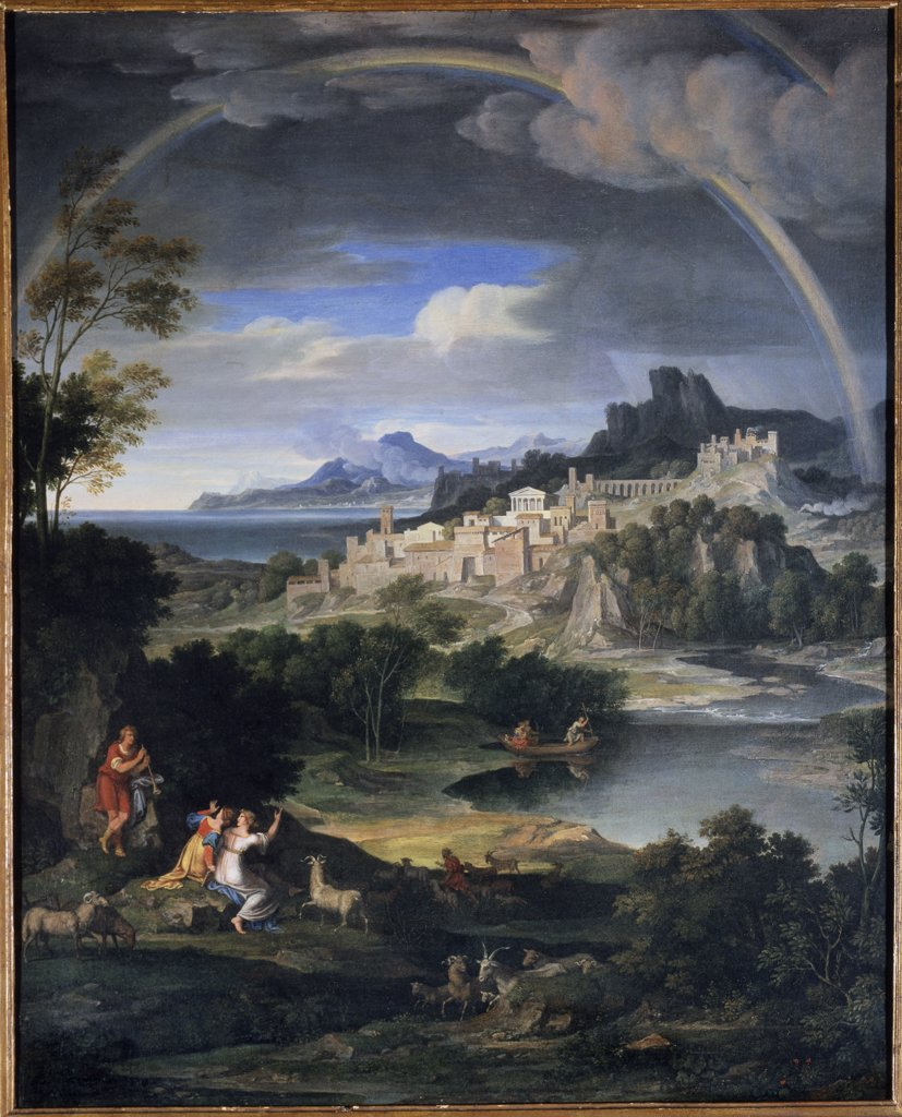 Stock Photo: 475-514 Classical Landscape With Rainbow 