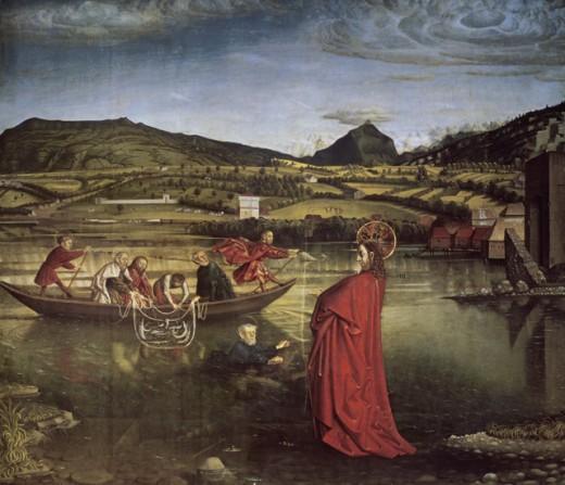 Miraculous Draught of Fishes 1444 Konrad Witz (c.1405-1444/6 Swiss) Museum of Art and History, Geneva, Switzerland : Stock Photo