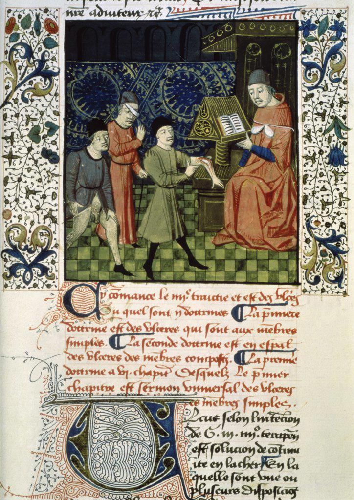 Stock Photo: 475-647 The Surgeon's Clinic 15th C. Guy de Chauliac (15th C.) Manuscript Bibliotheque Nationale, Paris, France