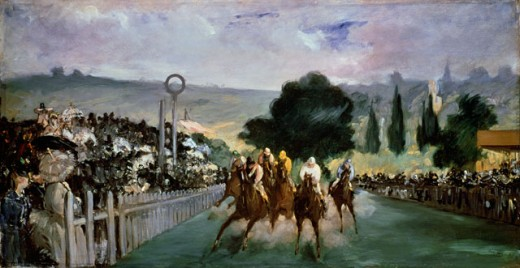 Races at Longchamp Edouard Manet (1832-1883 French) Art Institute of Chicago, USA  : Stock Photo
