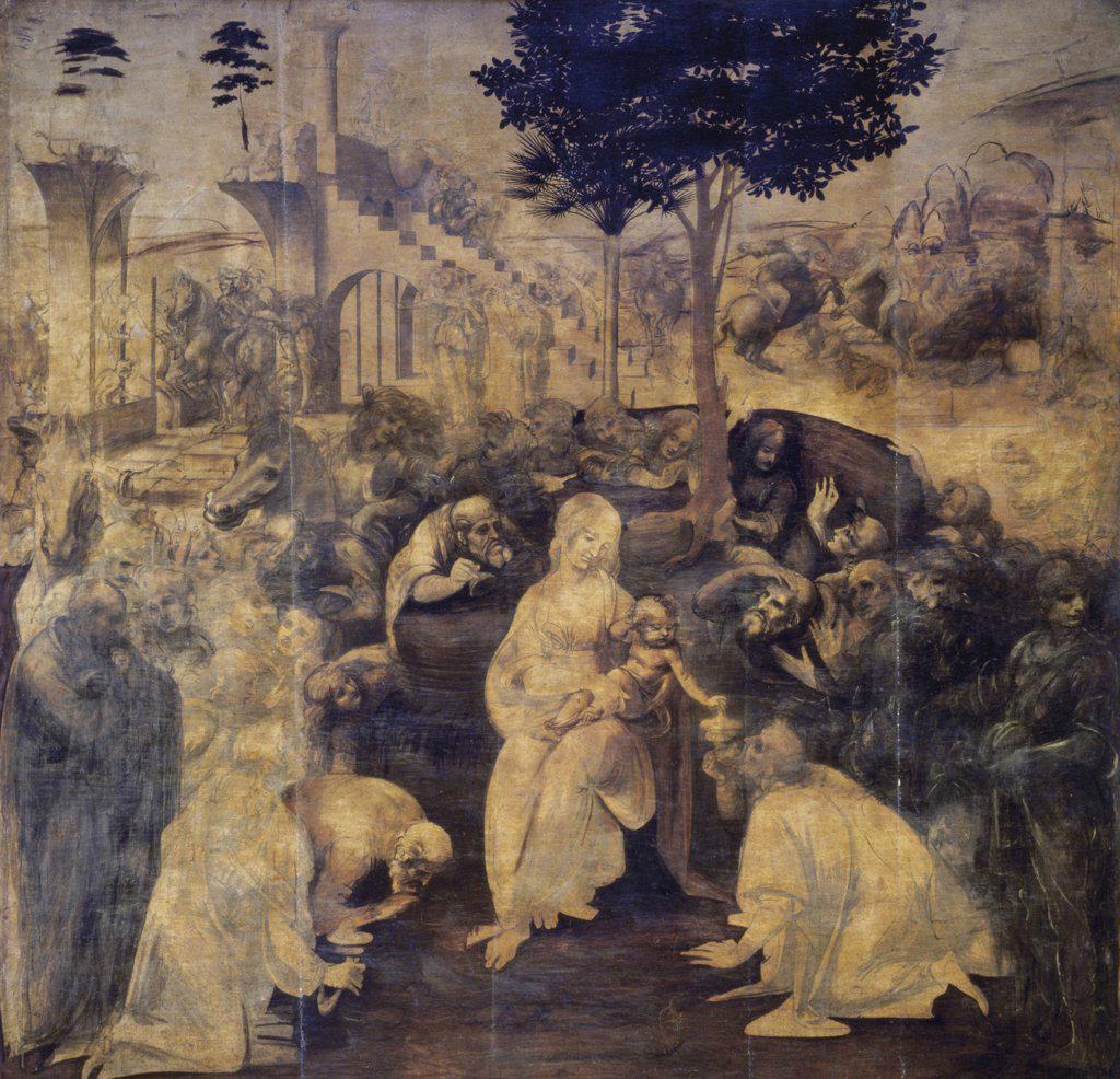 Stock Photo: 475-713 The Adoration of the Magi Leonardo da Vinci (1452-1519 Italian) Galleria Degli, Uffizi, Florence