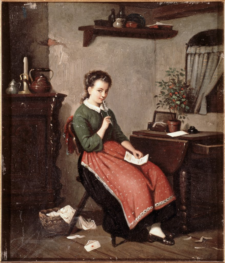 Stock Photo: 475-728 Young Girl Writing A Love Letter 