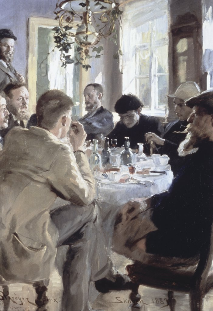 Stock Photo: 475-777 Scandinavian Painters at the Lunch Table 