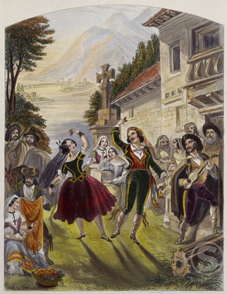 Stock Photo: 486-515 Fandango Dance, Spain c. 1853 Artist Unknown Engraving Culver Pictures Inc.