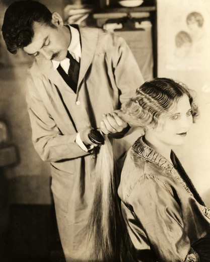 Stock Photo: 486-985 Hairdresser at work