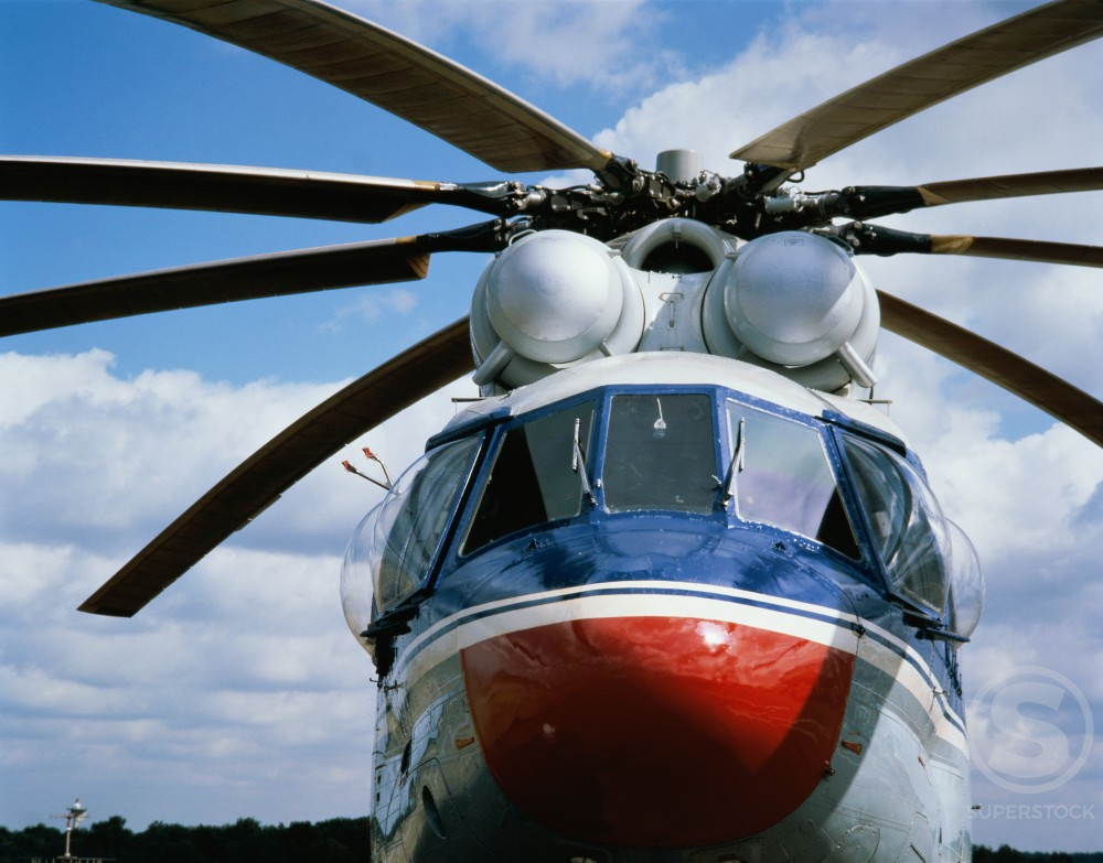 Stock Photo: 497-250813A Front view of a helicopter