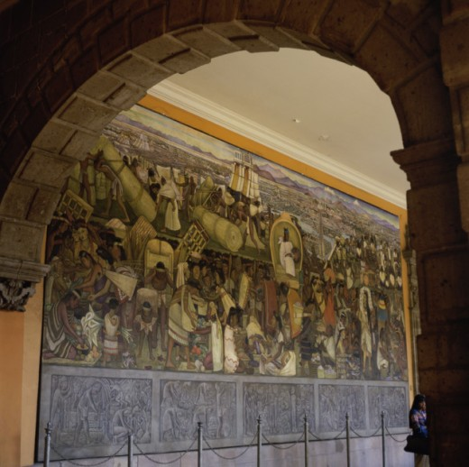 Stock Photo: 497-256591H Diego Rivera Mural seen through an arch, Great Tenochtitlan, National Palace, Mexico City, Mexico