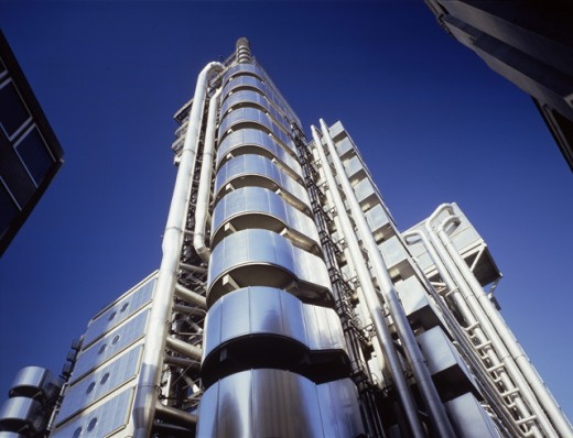 Stock Photo: 497-26025B Low angle view of an industrial building, England, London