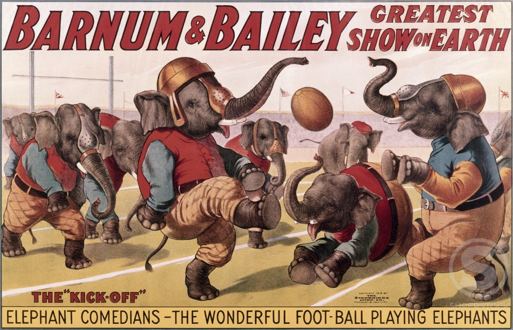 Stock Photo: 500-131631 The Kick Off, Barnum and Bailey Circus, poster