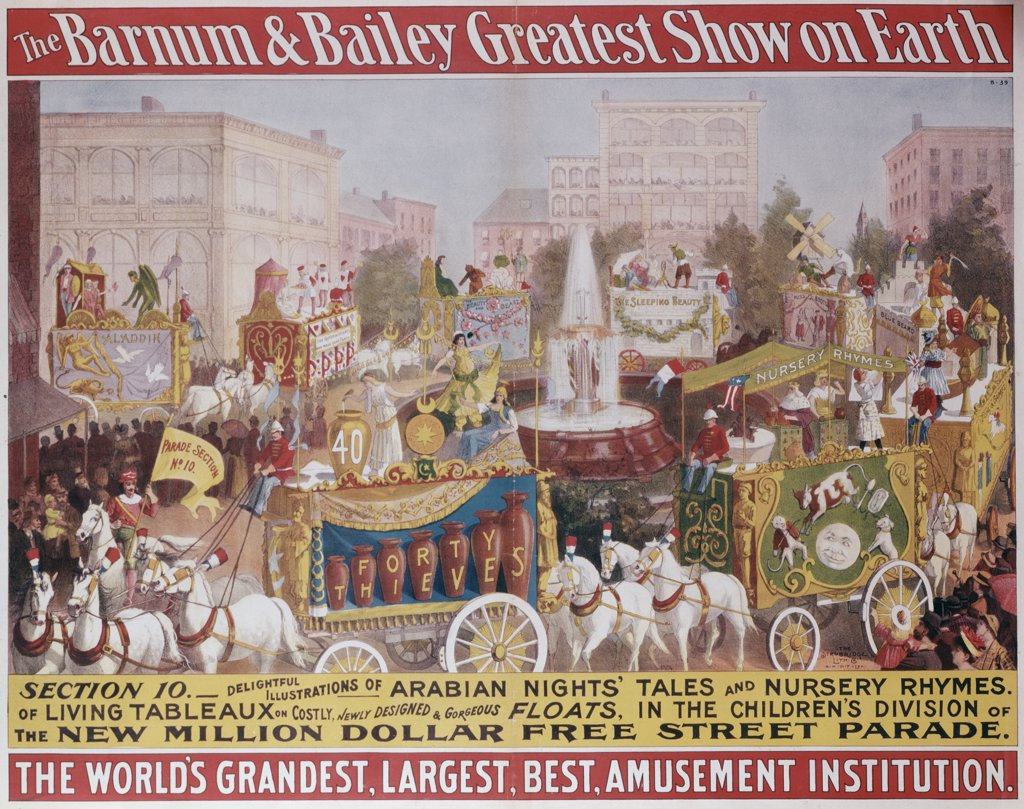 Stock Photo: 500-131998 Greatest Show on Earth, Barnum and Bailey Circus, poster