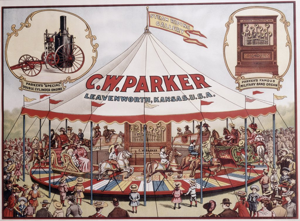Stock Photo: 500-131999 USA, Kansas, Leavenworth, C.W. Parker, carousel, poster