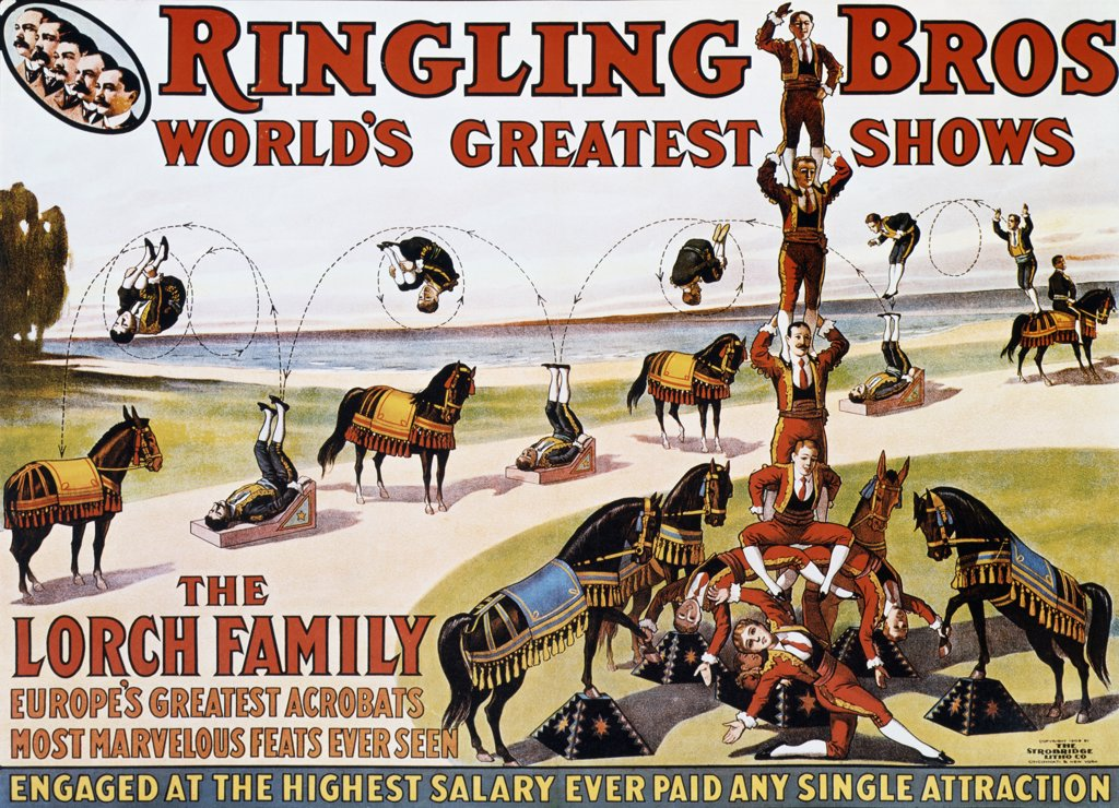 Stock Photo: 500-132569 The Lorch Family - World's Greatest Acrobats, Ringling Brothers Barnum and Bailey Circus, poster