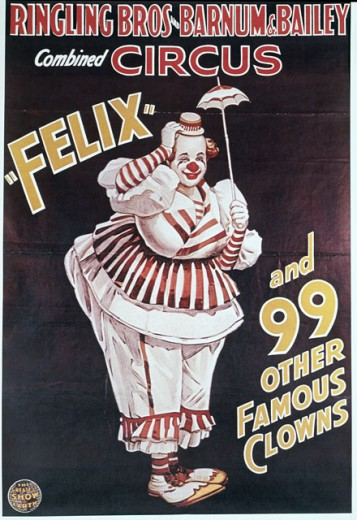 Stock Photo: 500-135512 Ringling Bros, Barnum & Bailey, Felix and 99 Clowns, poster, Nostalgia UK, 500