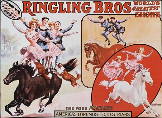Stock Photo: 500-137162 Ringling Bros, The Four McCree's, poster, Nostalgia UK, 500
