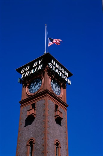 Stock Photo: 502-485 Clock tower of Union Station, Portland, Oregon, USA