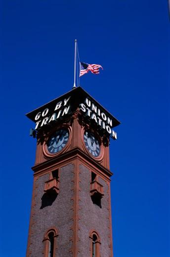Clock tower of Union Station, Portland, Oregon, USA : Stock Photo