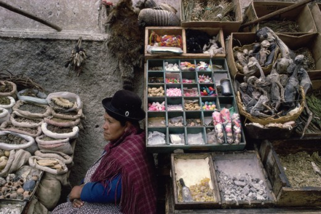 Stock Photo: 53-135 Indian Woman Market of La Paz Bolivia