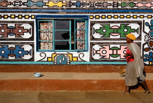 Stock Photo: 53-1650 Ndebele Tribal House Design