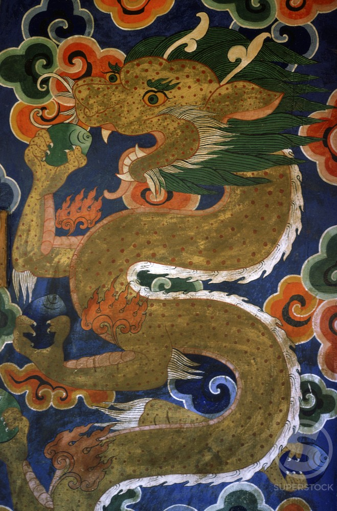 Buddhist Painting of a Dragon on Temple Door in Thimpu 