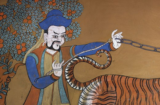 Buddhist Painting Detail in Paro Dzong, Bhutan Asian Art : Stock Photo