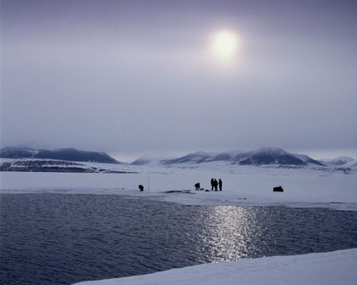 Stock Photo: 53-441 People standing on the ice, Arctic, Canada