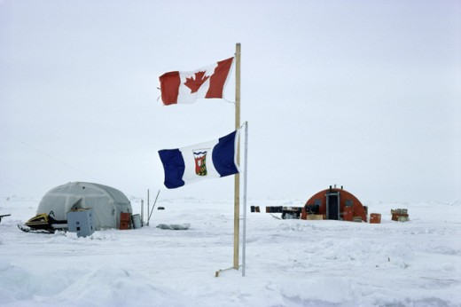 Camp site at the North Pole, Canada : Stock Photo