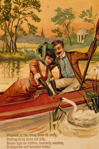 Playtime of life, away from all strife..., Nostalgia Cards, color lithograph, circa 1900 : Stock Photo