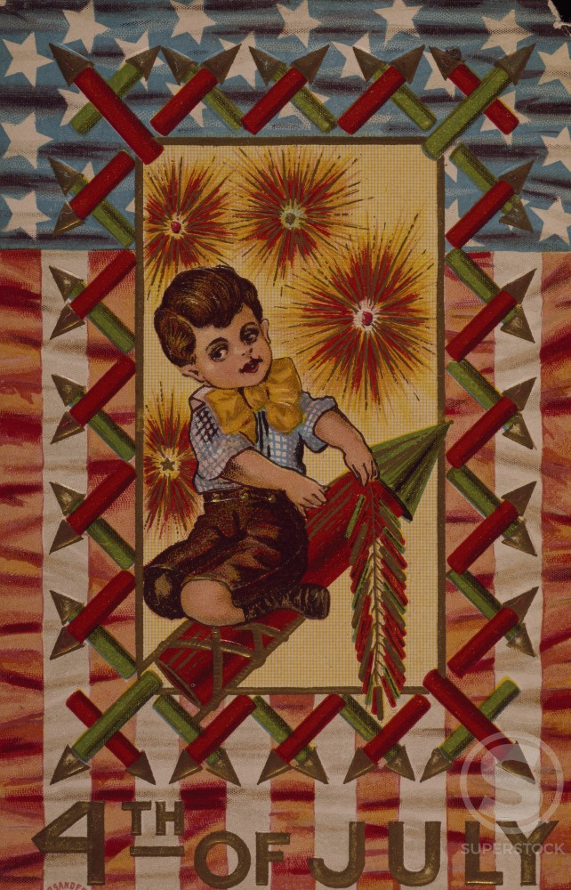 Fourth of July, Nostalgia Cards, color lithograph, 1912 : Stock Photo