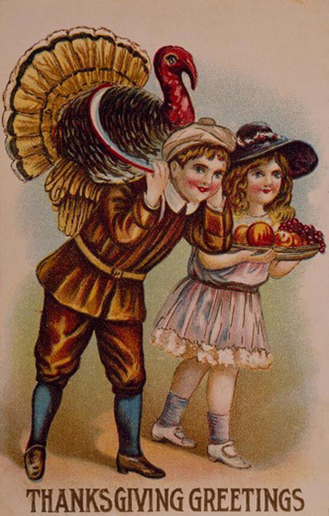 Thanksgiving greetings, Nostalgia Cards : Stock Photo