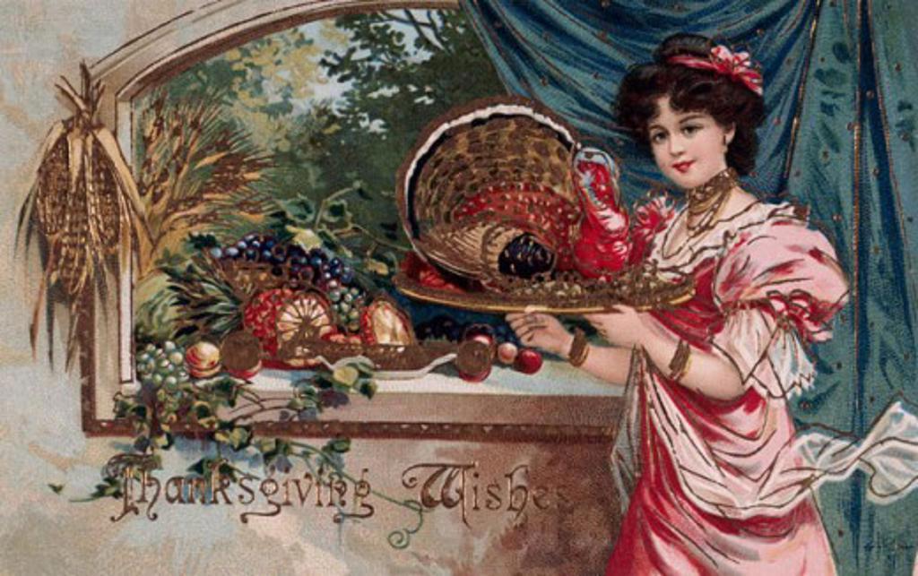 Thanksgiving Wishes C. 1908 Nostalgia Cards : Stock Photo