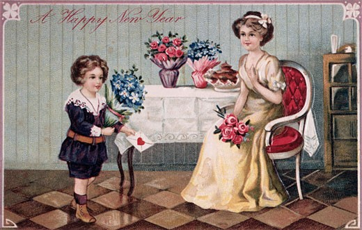 Stock Photo: 535-145243 A Happy New Year 1912 Nostalgia Cards Color Lithograph
