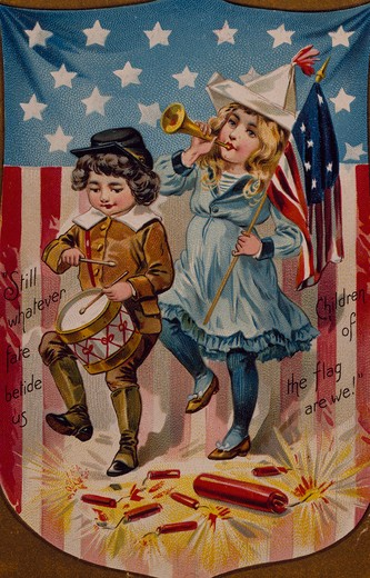 Stock Photo: 535-145818 Little Drummer Boy and Girl with Horn, Nostalgia Cards