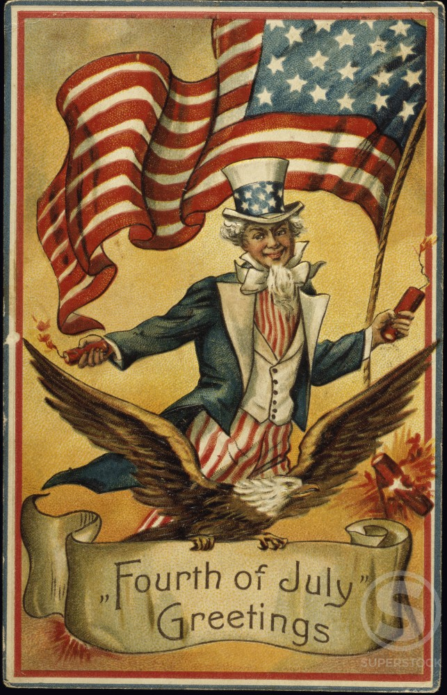 Fourth of July Greetings 1910 Nostalgia Cards : Stock Photo