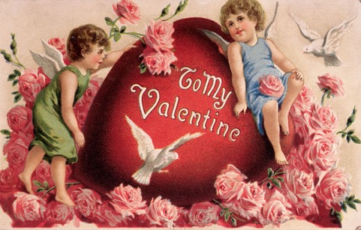 Stock Photo: 535-145829 Cupids and Doves 1912 Nostalgia Cards Illustration