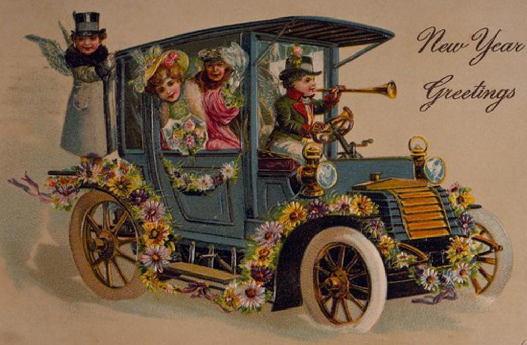 New Year Greetings, Nostalgia Cards, 1907 : Stock Photo