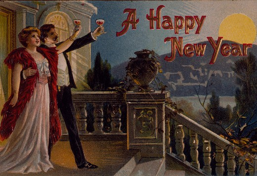 Stock Photo: 535-145839 A Happy New Year, Nostalgia Cards, 1909